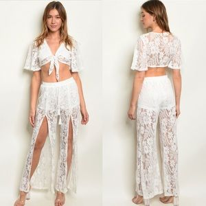 Tops - NWT$110 2PC Coverup Top Set free people tiger mist